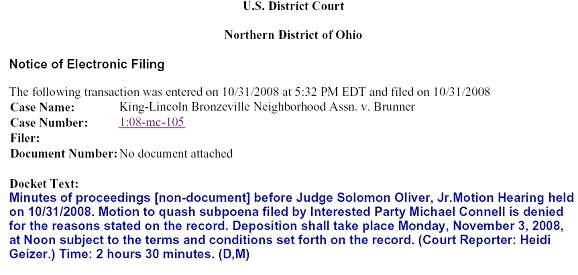 MIKE CONNELL SUBPOEN...